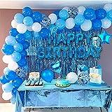 Globos Cumpleaños Decoracione, Feliz Decoración Fiesta Cumpleaños Azul, Globos de Látex Impresos, Globo para Hombres y Mujeres Adultos Decoración de Fiesta Manteles