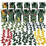 Army Men Military Action Figures in 12 Mini Tubes Buckets - 600 Pieces Kids Toy...