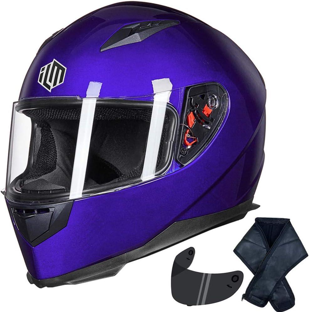 ILM Full Face Motorcycle Street Bike Helmet with Removable Winter Neck Scarf + 2 Visors DOT (M, Blue)