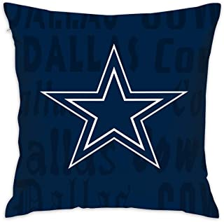 Gdcover Custom Colorful Dallas Cowboys Pillow Covers Standard Size Throw Pillow Cases Decorative Cotton Pillowcase Protecter Zipper - 18x18 Inches