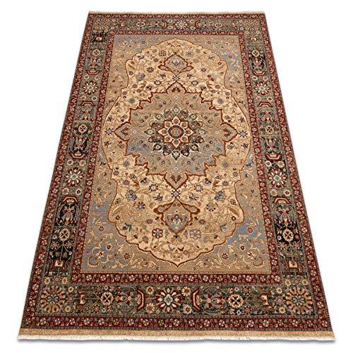 rugsx Teppich Wolle KESHAN Rosette orientalisch, traditionelle Teppiche, für das Schlafzimmer, Wohnzimmer, hohe Qualität beige/dunkelblau 80x150 cm