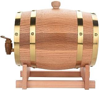 lyrlody Tonneau à Vin en Chêne Distributeur de Vin Fût de Bois Vintage pour Vin de 3 litres Tonneau à Vin avec Robinet Réc...