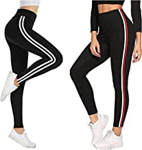 Fitg18 Gym wear Leggings Ankle Length Free Size Combo Workout Trousers | Stretchable Striped Jeggings | Yoga Track Pants f...