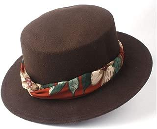 2019 Mens Womens Hats Unisex Men Women Flat Top Hat Autumn Pop with Ribbon Winter Wide Brim Fedora Hat Pork Pie Party Hat Wool Trilby Hat Size 56-58CM Adjustab;e (Color : Coffee, Size : 56-58)
