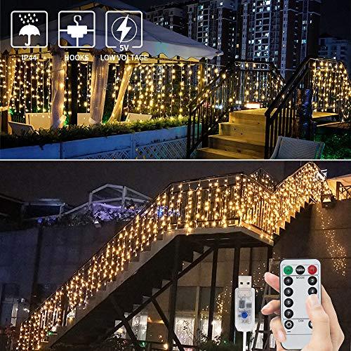 BLOOMWIN Tenda Luminosa 8 modalità 6V a Bassa Tensione 6M * 1M 300 LEDs USB Luci Stringa Funzione Timer con Telecomando con Ganci per Natale Finestra Anniversario Casa Giardino Bainco Caldo