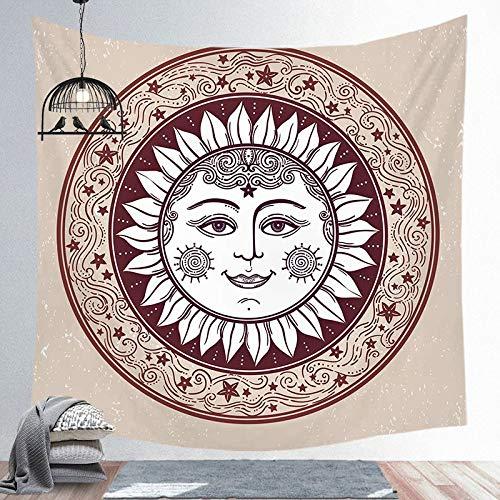 Tapiz de sol y luna Mandala colgante de pared Tarot tela de fondo psicodélico Tapiz brujería tapiz de tela de pared a10 180x200cm