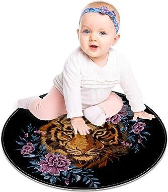 """Floor Mat Tiger Head Ethnic Flowers Modern Round Rug Living Room Bedroom Bathroom Kitchen Floor Mat Home Decor 23.6"""""""