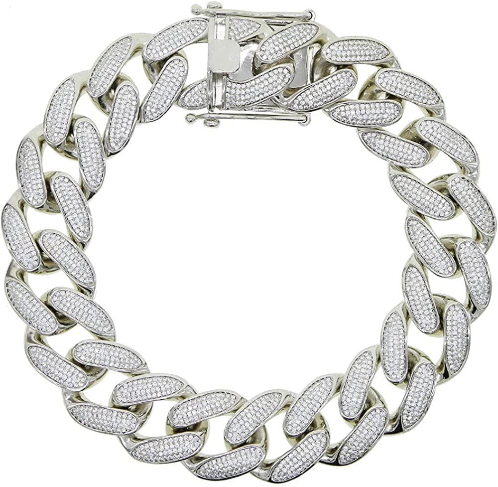 30mm cuban link chain choker Iced out bling 4 raw cuban link chain necklace for women hiphop jewelry 45cm