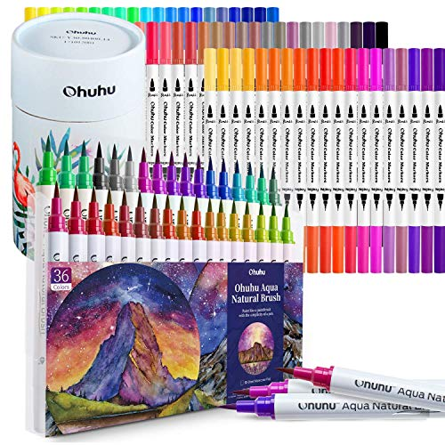 Ohuhu 60color Dual Tip Art Markers + 36 Watercolor Brush Markers
