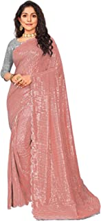 Bollywood Designer Fancy Festival Sequin Saree Georgette Silk Shiny Party Cocktail sari Blouse 6697