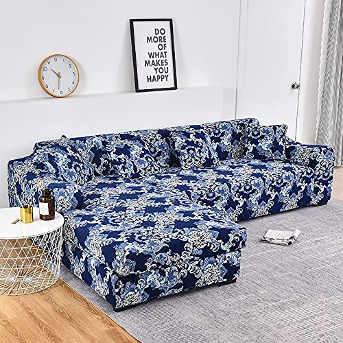 WXQY Fundas de Tela Escocesa elástica Funda de sofá elástica Funda de sofá de protección para Mascotas Esquina en Forma de L Funda de sofá Todo Incluido A17 1 Plaza