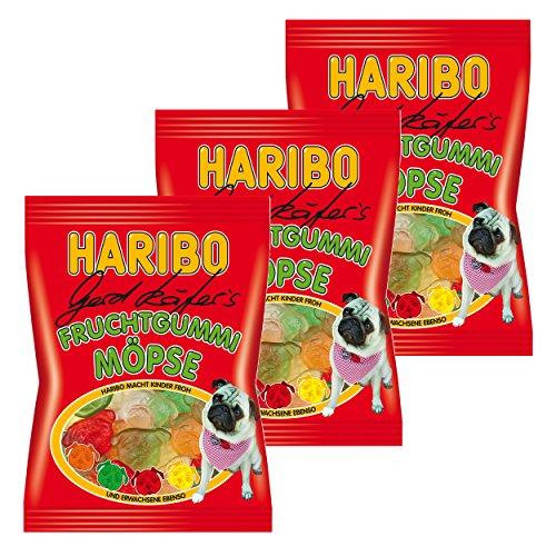 Haribo Gerd Käfer's Möpse, 3er Pack, Gummibärchen, Weingummi, Fruchtgummi, Im Beutel, Tüte, 200 g
