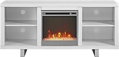 "Walker Edison Furniture 58"" Simple Modern Fireplace TV Console, White"