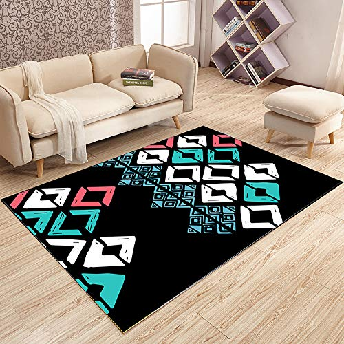 QWEASDZX Carpet Polyester Decorative Rug Fashion Personality Flannel Digital Printing Pattern Living Room Rug Easy To Clean 140x200cm