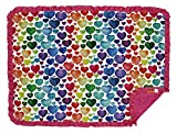 Dear Baby Gear Deluxe Baby Blanket, Double Layer Minky, Watercolor Rainbow Hearts, Hot Pink Minky Smooth, Hot Pink Ruffle, 43 x 33 Inches