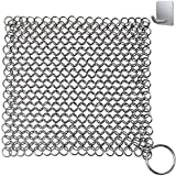 "Chainmail Scrubber, Cast Iron Skillet Cleaner, KoHuiJoo 8"" x 8"" Chainmail Scrubber Stainless Steel Chain Skillet Cleaner for Pre-Seasoned Pan Dutch Ovens Cast Iron Pans Cleaning (8""x8"" Square)"