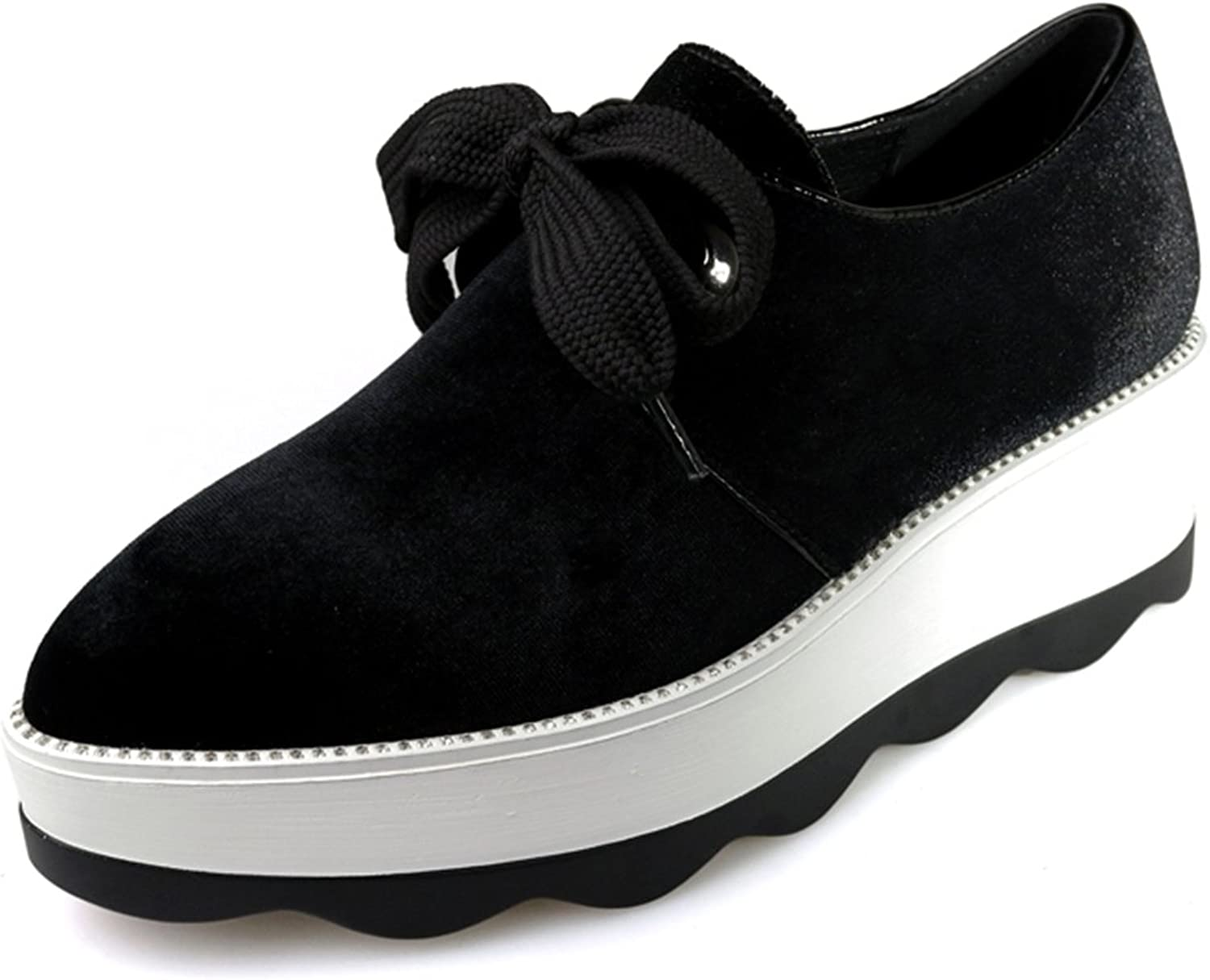 DecoStain Women's Fashion Comfortable Pointed Toe Platform Heels Trainers Lace Up Creepers Sports Jogging Walking Sneakers shoes