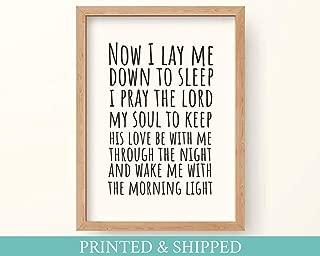 Arvier Now I Lay me Down to Sleep Bedtime Prayer Nursery Decor or Print Framed Wall Art
