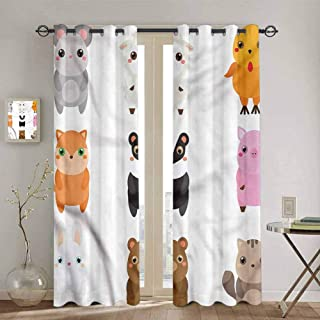 SONGDAYONE Kawaii Thermal Insulated Room Darkening Curtains, Bunny Fox Sheep and Badger Curtains 63 inch Length Protective Furniture W72 x L63 Inch