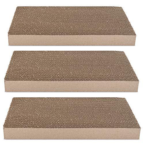 Navaris Cartone Tiragraffi per Gatti XXL - 3X Cartoni Graffiatoio - Pannello in Cartone Ondulato Gioco per Gatto - Paper Scratch Board Micio 43x24x4cm
