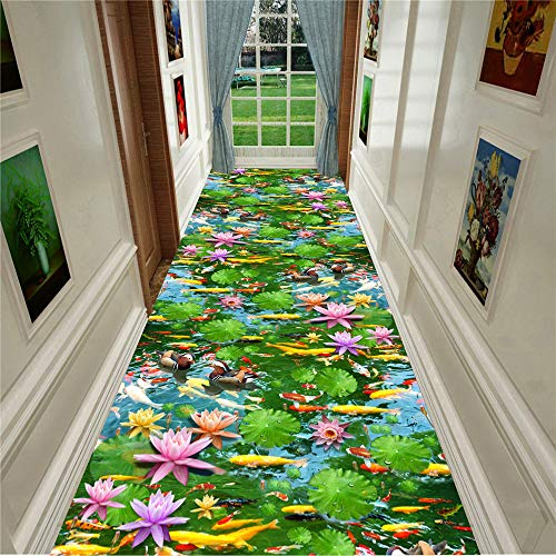 KFEKDT Modern and Stylish 3D Living Room Carpet Indoor Entrance Door Mat Rural Carpet Flower Goldfish Plant Home Corridor Carpet A3 80x180cm