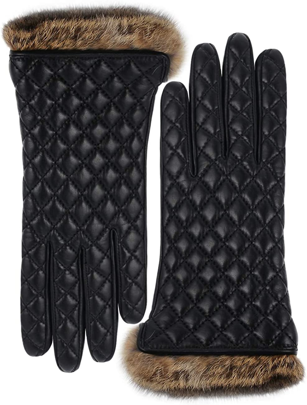 Vikideer Winter Warm Cashmere Lining Rabbit Fur Cuffs Leather Gloves for Women Touchscreen Cashmere Lined