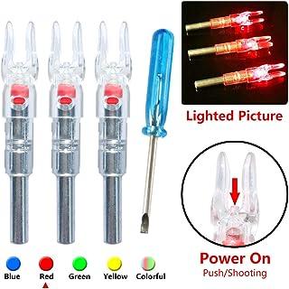Deeabo Puntas de Flecha Luminosas, 3 Piezas de Tiro de Caza, Arco de Flecha de 6.2 mm Arco Iluminado LED Flecha Brillante Nock Tail, Azul