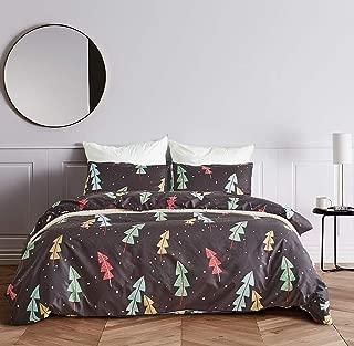 Fire Kirin Soft Duvet Cover Sets 3PC (1 Duvet Cover + 2 Pillowcases) Christmas Tree and Snow Printed Bedding Set for Boys Girls Women Men (Black/Queen)
