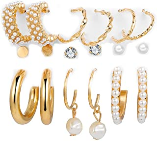 HALAMODO 9 Pairs Gold Open Hoops Pearl Gold Earrings Set for Teen Girls And Women