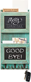 Z&L HOUSE Mail Sorter Organizer for Wall with Chalkboard Surface & 3 Double Key Hooks - Wall Mount Holder Wooden Envelope ...