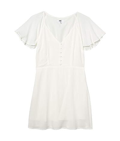 BB Dakota Rayon Crepe Button Front Dress with Back Smocking (Ivory) Women