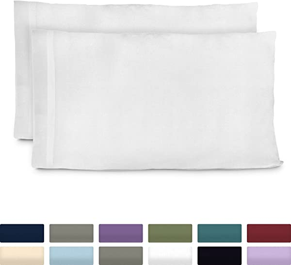 Cosy House Collection Premium Bamboo Pillowcases Standard White Pillow Case Set Of 2 Ultra Soft Cool Hypoallergenic Blend From Natural Bamboo Fiber