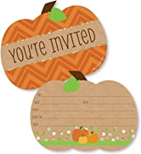 Big Dot of Happiness Pumpkin Patch - Shaped Fill-in Invitations - Fall or Thanksgiving Party Invitation Cards with Envelopes - Set of 12