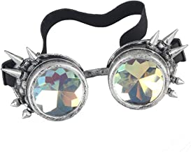 OMG_Shop Chrome Spike Padded Kaleidoscope Effect Goggles Party Glow LED Steampunk
