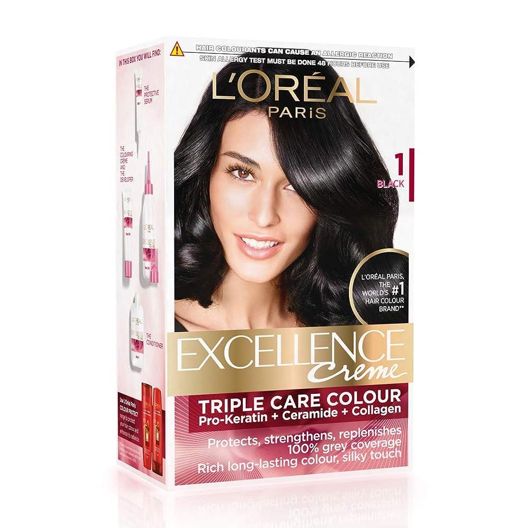 容赦ない上若さL'Oreal Paris Excellence Creme Hair Color, 1 Black, 72ml+100g