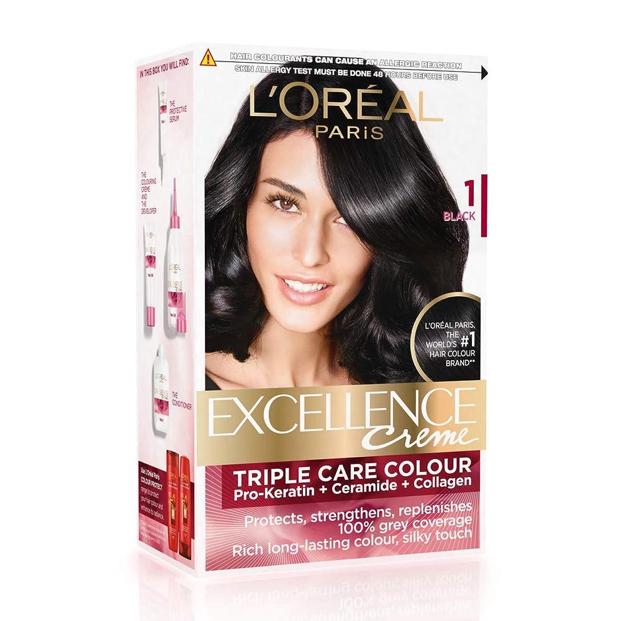 寄託反乱真向こうL'Oreal Paris Excellence Creme Hair Color, 1 Black, 72ml+100g