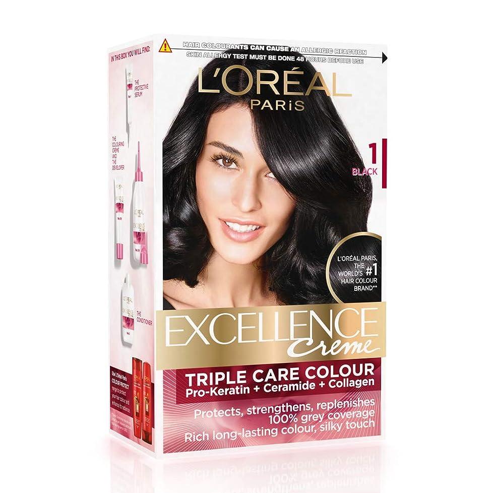 旅行者エクスタシー適合するL'Oreal Paris Excellence Creme Hair Color, 1 Black, 72ml+100g