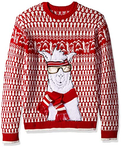 Blizzard Bay Men's Ugly Christmas Sweater Llama, Red/White, Medium