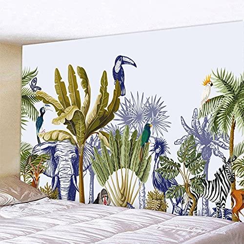 Plantas tropicales hojas de palma flores decoración para el hogar tapiz colgante de pared patrón decoración bohemia tapiz hippie manta tela A4 180x230cm
