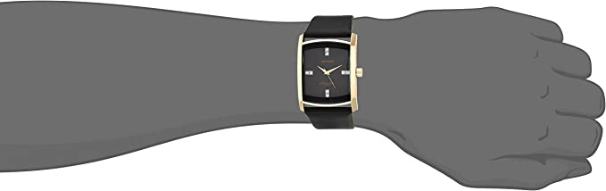 Armitron Men's Genuine Crystal Accented Leather Strap Watch