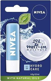 NIVEA Lip Balm Hydro Care with SPF 15 (4.8g), Hydrating Lip Balm with Aloe Vera, Moisturising Lip Care with Natural Oils f...