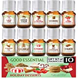 Holiday Desserts Good Essential Fragrance Oil Set (PACK OF 10) 5ml Set - Peppermint, Apple Cinnamon,...