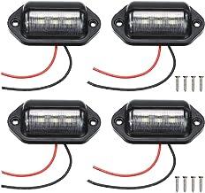 4 Packs License Plate Light, 12V 6 LED Waterproof License Plate Lamp Taillight for Truck SUV Trailer Van RV Trucks Boats License Tags