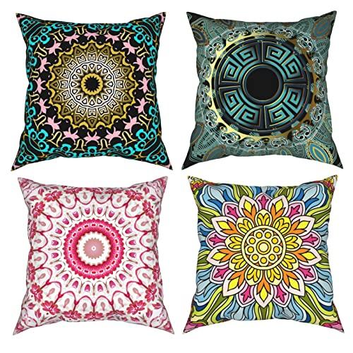 Mandala - Fundas de almohada decorativas de 20 x 20 pulgadas, diseño floral, color rosa