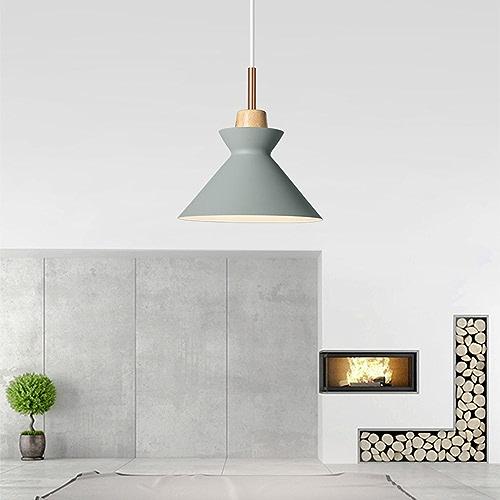 Xdmgg Nordic Design moderne Suspension Mavoitureon Lampe décorative en bois et métal Suspension réglable en hauteur Suspension E27φ20cm pour salle à hommeger bureau Cafe gris