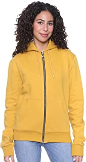 Andiamo Fashion Solid Front Pockets Zip-Up Drawstring Hoodie for Women XL