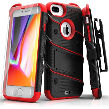 ZIZO Bolt Series for iPhone 8 Plus Case Military Grade Drop Tested Tempered Glass Screen Protector Holster iPhone 7 Plus case Black RED