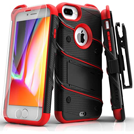 Amazon Com Zizo Bolt Series For Iphone 8 Plus Case Military Grade Drop Tested Tempered Glass Screen Protector Holster Iphone 7 Plus Case Black Red