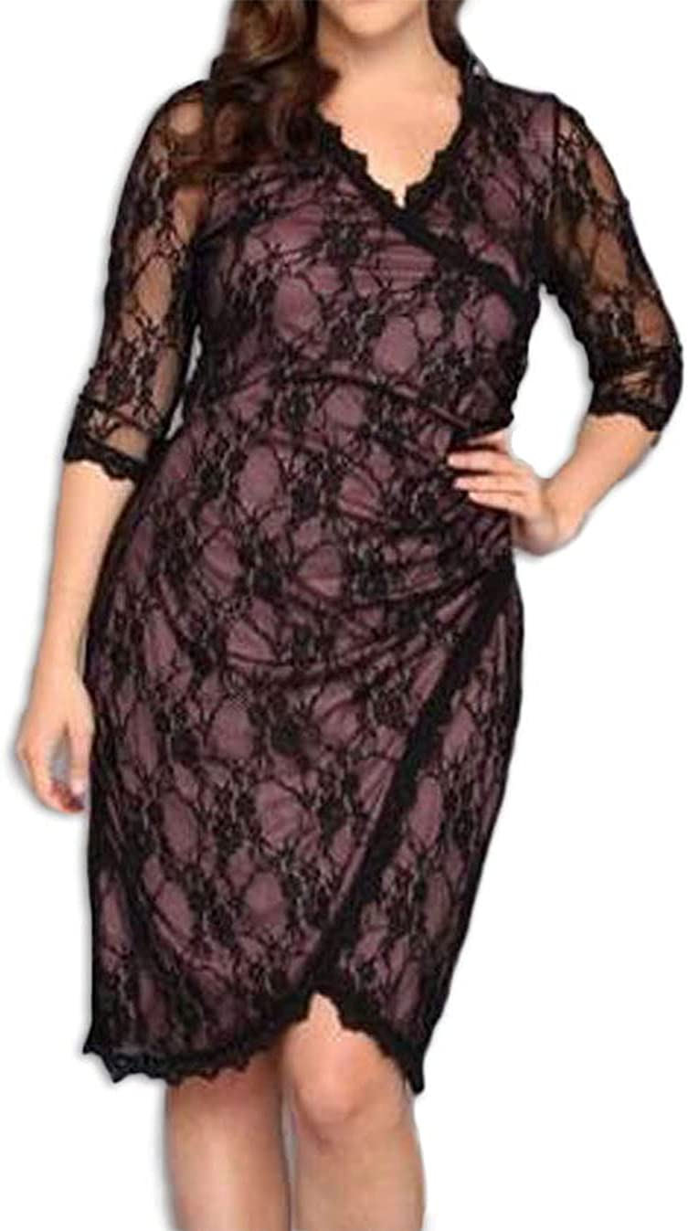 830 - Plus Size Lace Cinch 3/4 Sleeves Cocktail Holiday Evening Dress, Black Red