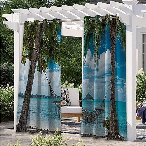 Adorise Home Curtains Palm Trees Romantic Resort Tropical Weather Cloudy Summer Sky Print Waterproof Sun Light Blocking Curtain for Pool Hut Pavilion Gazebo Sun Room Blue Green W108 x L84 Inch